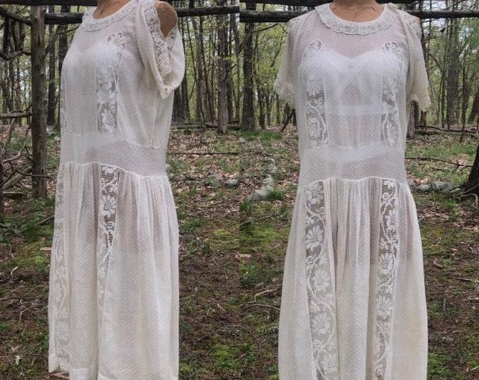 20s ROMANTIC WHITE cotton swiss dot and lace drop waist flapper tea DRESS vintage 1920s