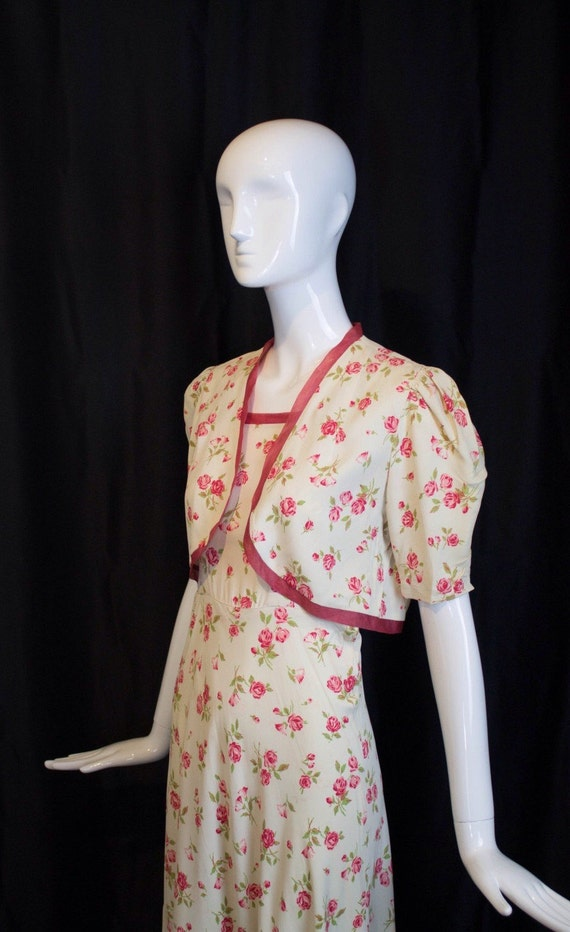 30s GOWN & JACKET novelty rose print rayon summer… - image 4