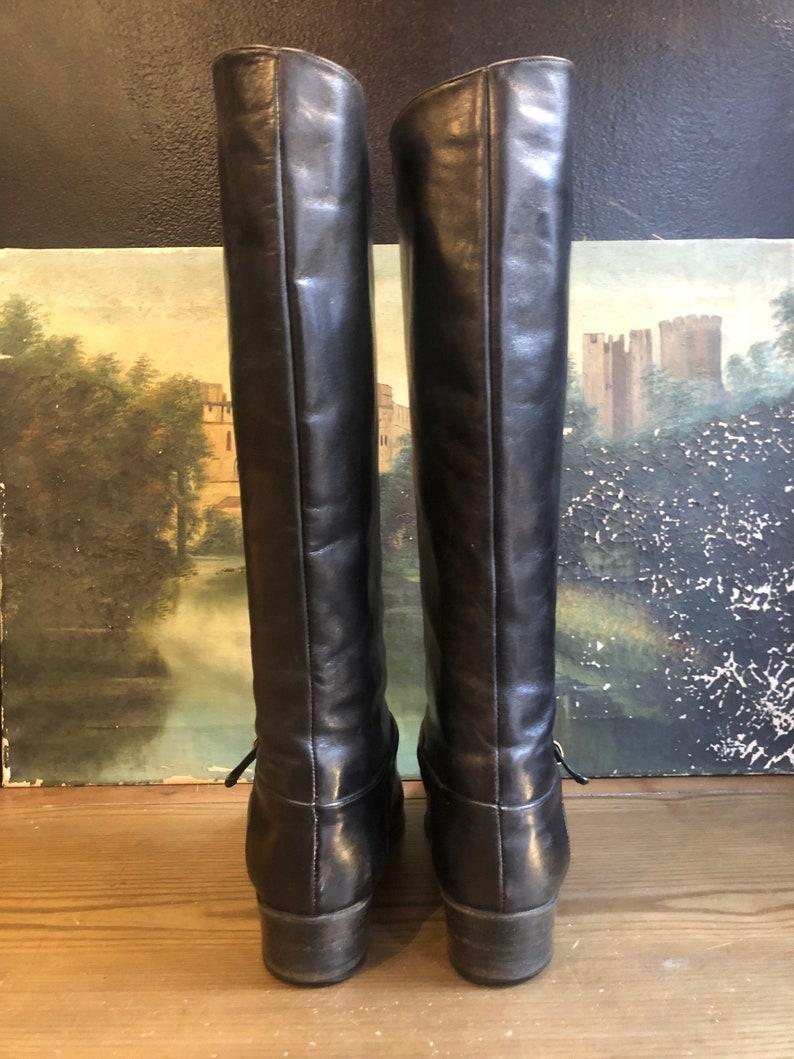 1970s Italian Black Leather Riding Boots Sz 8