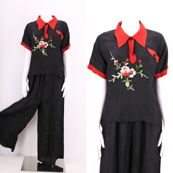 30s 40s embroidered rayon pajamas / vintage 1930s