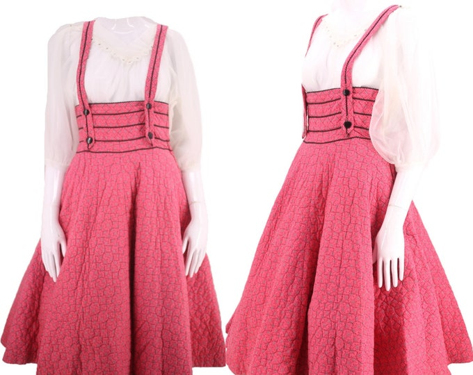 """50s quilted suspender circle skirt 24"""" / vintage 1950s pink pin up party cotton full skirt S"""