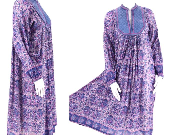 70s AMBER purple tissue cotton India print peasant dress M / vintage 1970s purple blue hippy festival caftan medium