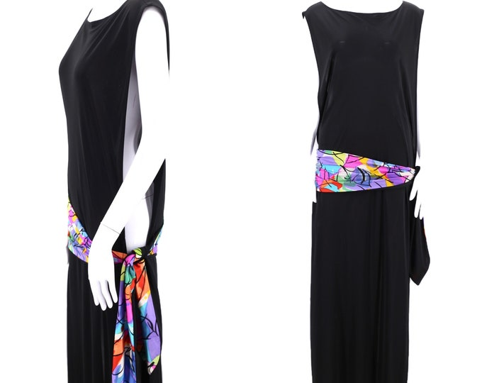 80s Christian Dior spandex pool cover up dress / vintage 1980s black lounge swimwear bathing suit  over dress sarong