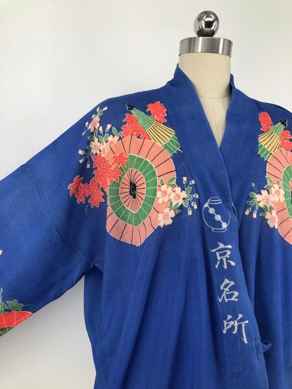 vintage 30s print kimono / blue Yuzen Zome fan & … - image 10