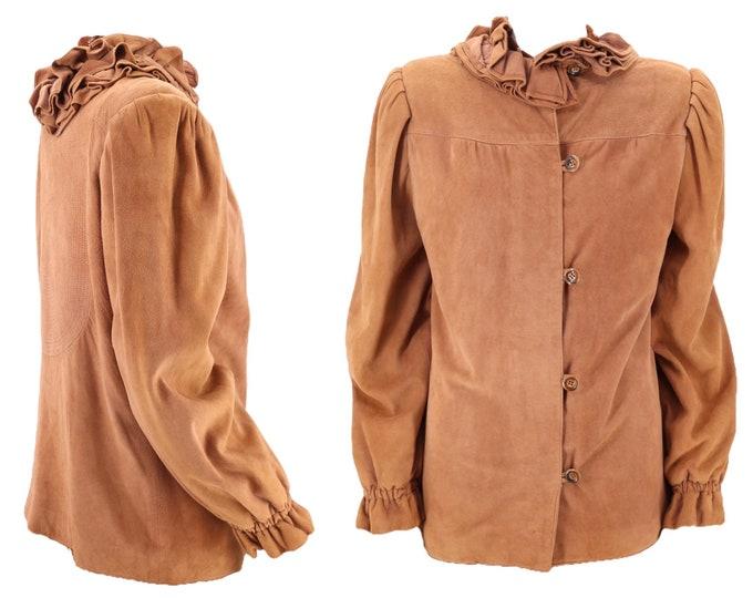 70s FENDI tan suede ruffle jacket M / vintage 1970s soft stitched button front jacket blouse