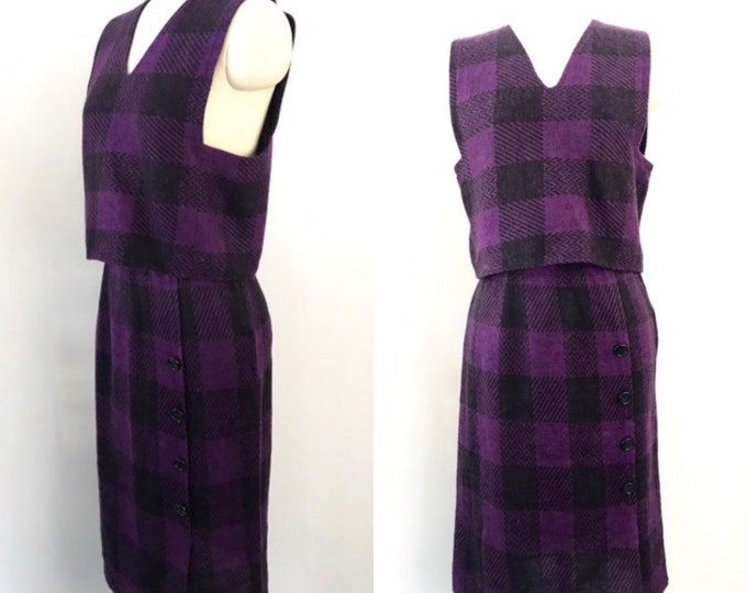 80s GEOFFREY BEENE dress outfit / vintage 1980s purple houndstooth check knit soft 2 pc set skirt top