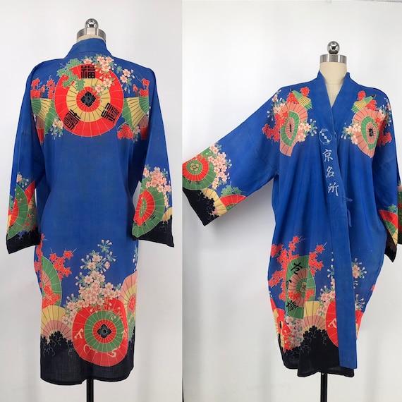 vintage 30s print kimono / blue Yuzen Zome fan & c