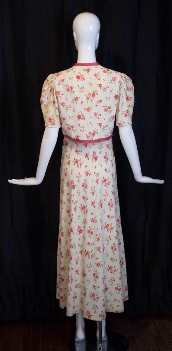 30s GOWN & JACKET novelty rose print rayon summer… - image 2