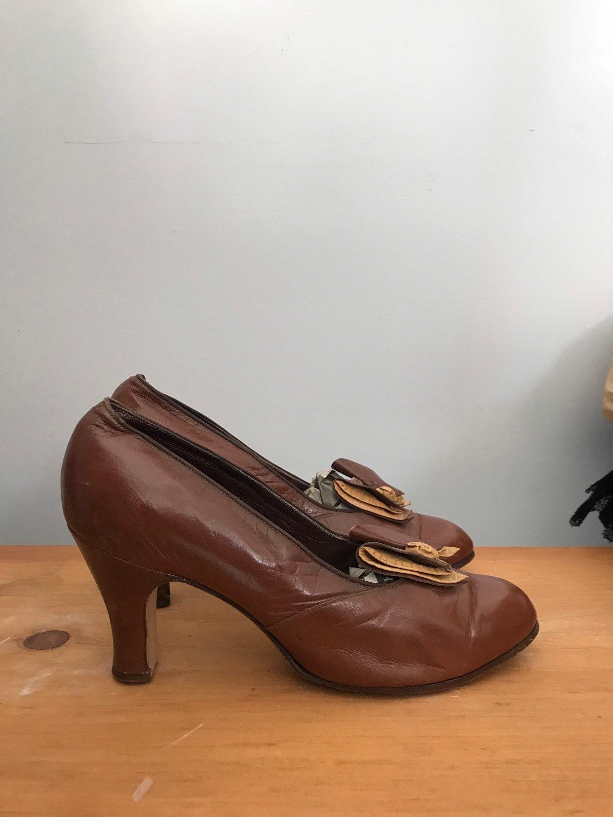 Deco Leather 30s Pumps Bow Era Chocolate Brown Depression EYWHDe29Ib