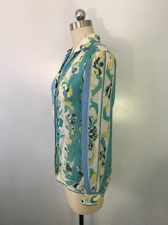 60s EMILIO PUCCI blue green signed print psychede… - image 7
