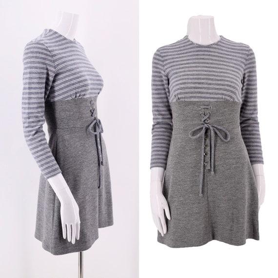 60s Gray Knit Striped Mod Mini Dress / vintage 196