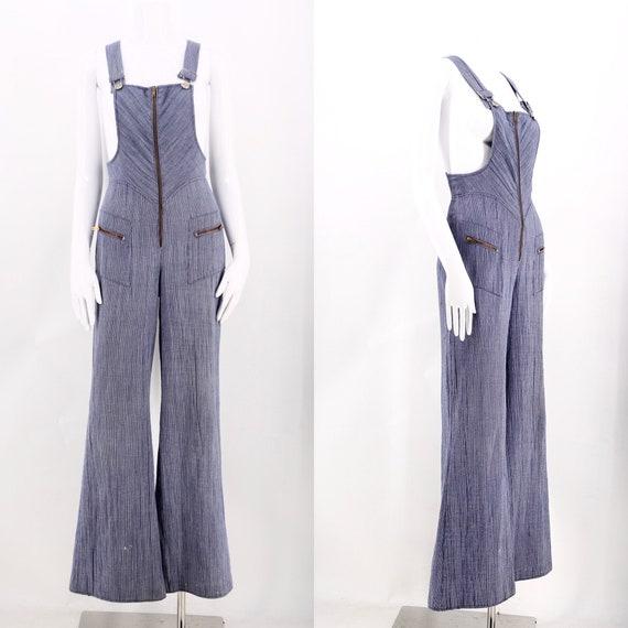 70s bell bottom cotton denim jumpsuit / vintage 19