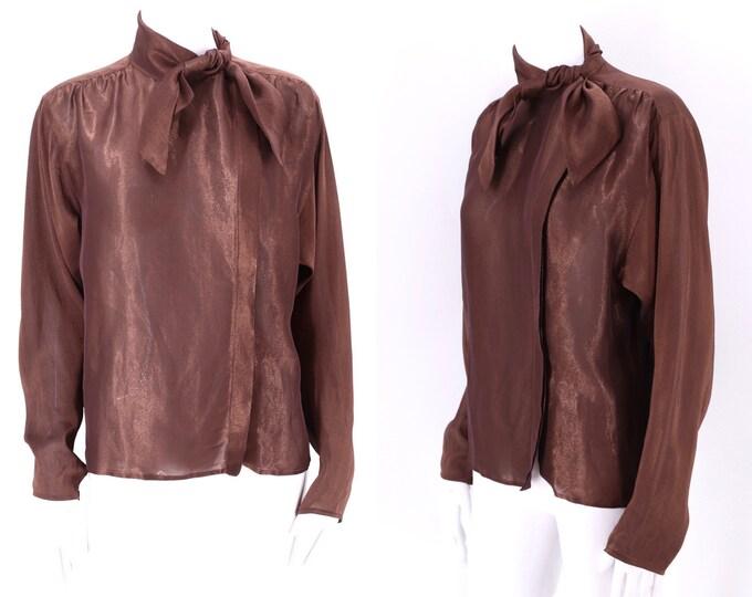 80s UNGARO tie blouse sz 8  / vintage 1980s copper metallic Emanuel Ungaro top sz M