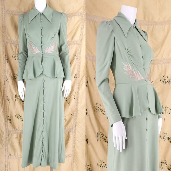 70s does 30s sage appliquéd maxi dress / vintage 1