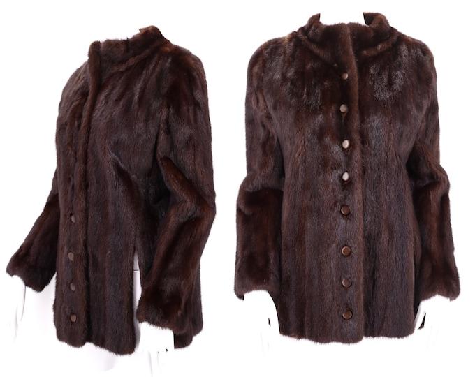 70s BERGDORF GOODMAN chocolate mink hip length coat / vintage 1970s brown fur coat w/ side slits M