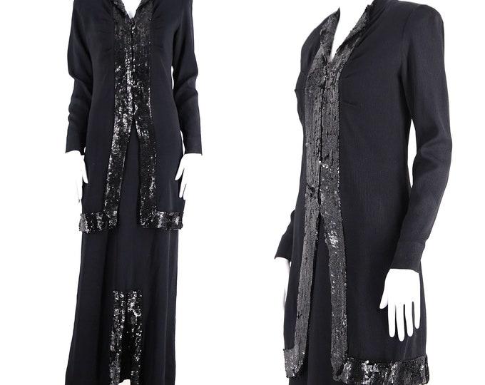 30s sequin evening gown size L / vintage 1930s 2 pc black crepe dress Art Deco trim maxi skirt and blouse top large