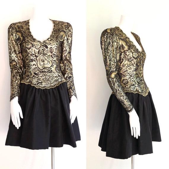 80s Pauline Trigere gold lace cocktail dress / vi… - image 1