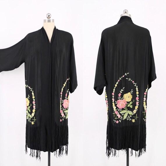 20s 30s kimono robe / vintage 1920s Floral Wreath