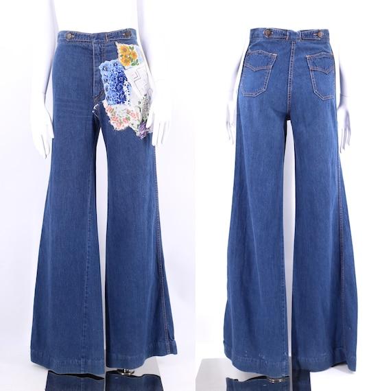 70s high waisted custom denim bell bottoms jeans 2