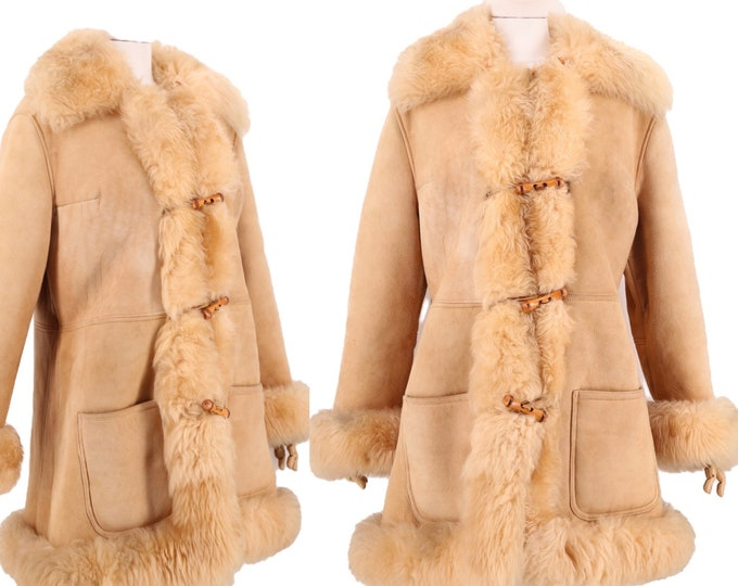70s PENNY LANE beige suede & shearling trim coat L / vintage 1970s toggle almost famous sheepskin COAT fur jacket xl