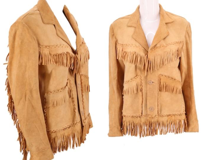 40s buckskin suede western fringe jacket M  / vintage 1940s tan leather pin up cowgirl fringed jacket 50s 8-10