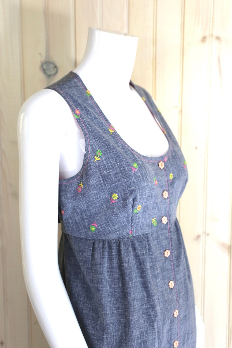 70s YOUNG EDWARDIAN embroidered maxi dress  vintage 1970s Arpeja chambray summer gown sz 9