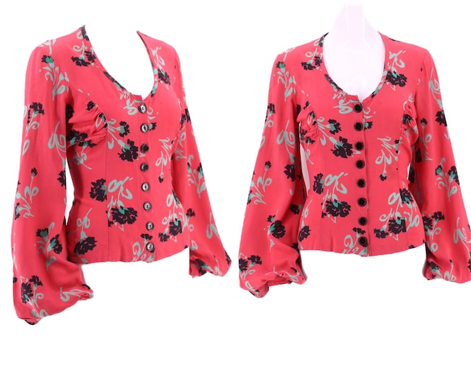 70s BETSEY JOHNSON Alley Cat rose print rayon blouse M  / vintage 1970s does 30s peasant sleeve top 9-10