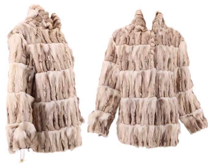 80s SAGA FOX vintage fur coat M / vintage 1970s 80s hip length textured blue fox fur coat  M-L