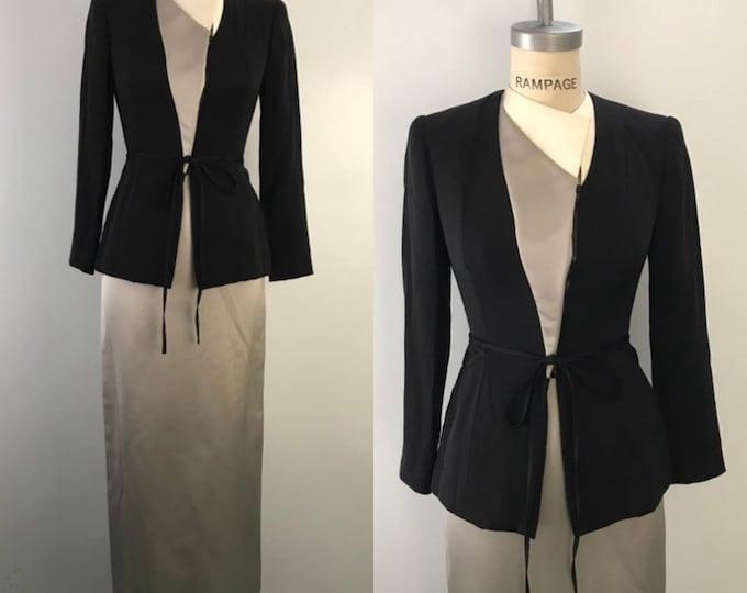 90s GEOFFREY BEENE silk asymetrical gray white black chic & minimal evening skirt SUIT vintage 1990s 4