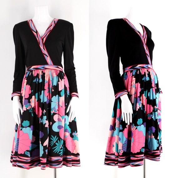 80s Averardo Bessi silk jersey print dress sz 10 /
