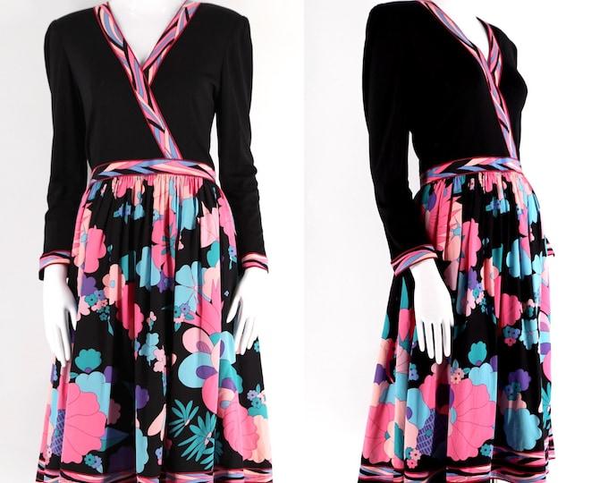 80s Averardo Bessi silk jersey print dress sz 10 / vintage 1980s psychedelic signed print dress