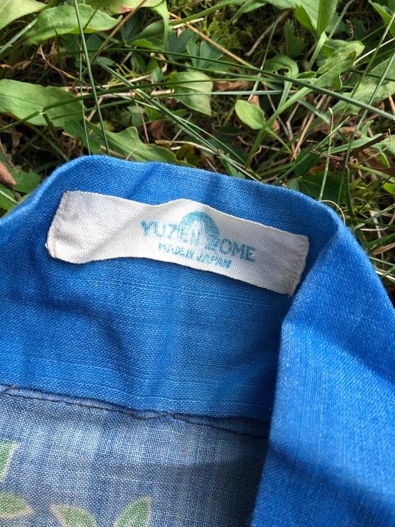 vintage 30s print kimono / blue Yuzen Zome fan & … - image 3