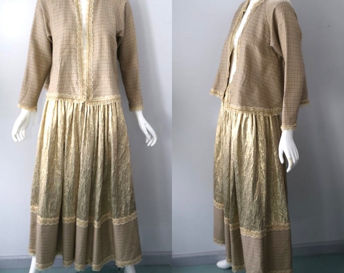 80s GEOFFREY BEENE set  gingham and gold metallic jacket skirt set OUTFIT 1980s vintage size 8