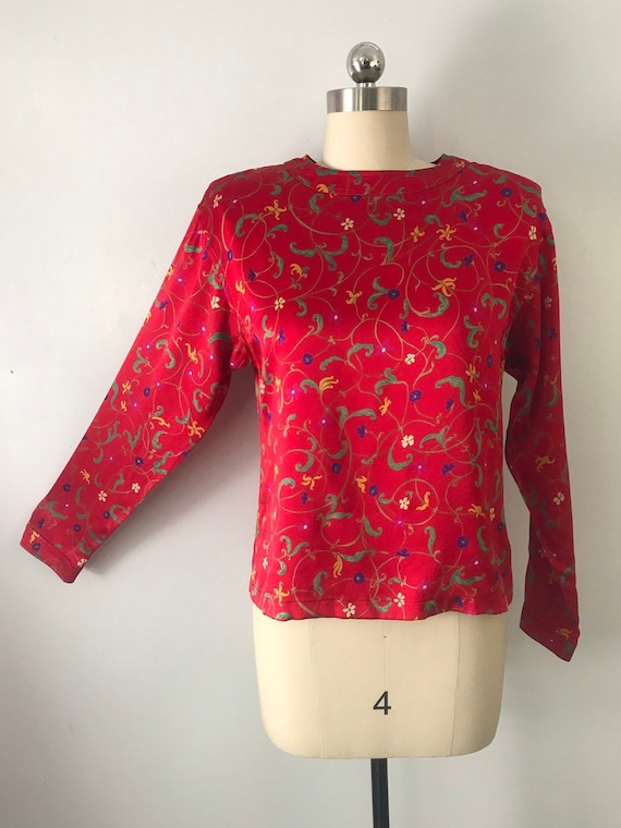 80s UNGARO red silk floral print jewel neck BLOUSE