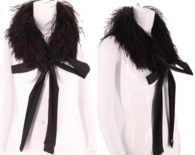 20s black maribou feather scarf  / vintage 1920s flapper deco era collar antique
