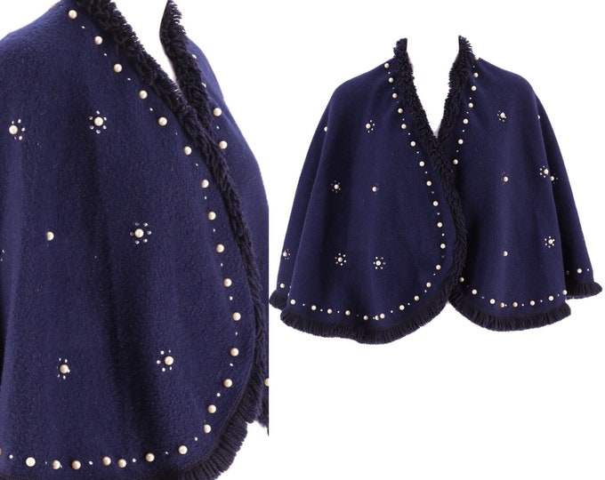 50s navy pearl encrusted wool cape /vintage 1950s eyelash fringe blue Mid Century shawl capelet wrap One Size