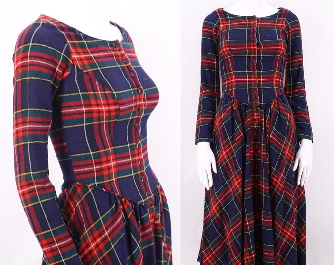 70s BETSEY JOHNSON Alley Cat plaid wool punk dress XS  / vintage 1970s woven Victorian style bodice dress 7/8