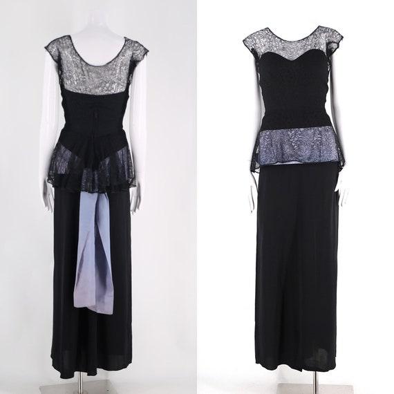 40s Frank Starr black evening gown / vintage 1940s