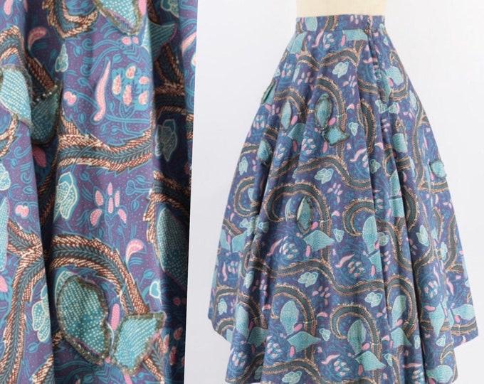 50s BOTANICAL BATIK print circle skirt