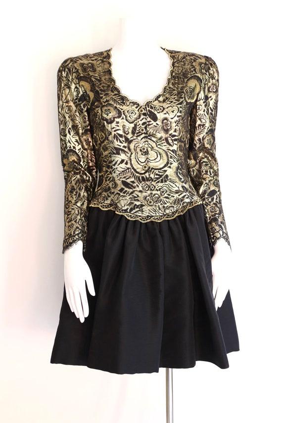 80s Pauline Trigere gold lace cocktail dress / vi… - image 2
