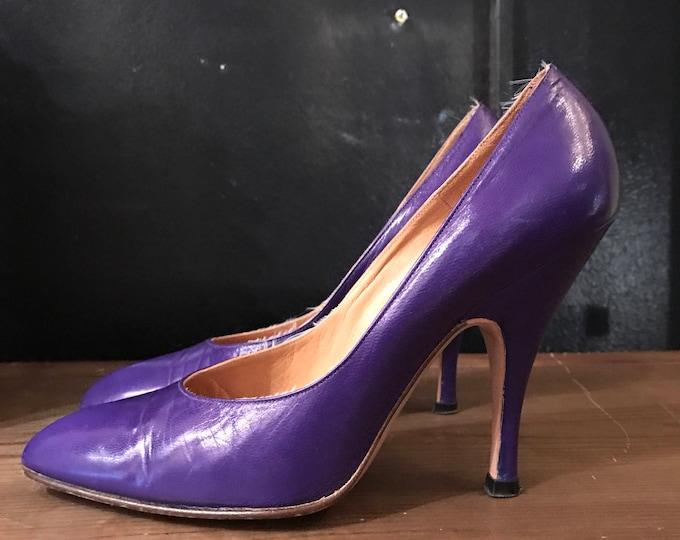 80s NORMA KAMALI shoes size 6.5 / vintage deep purple leather spike high heels pumps 1980s