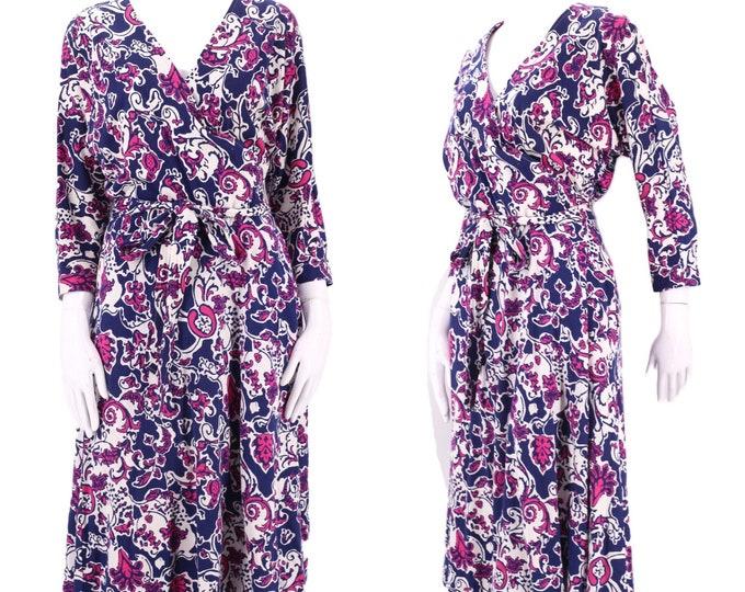 80s DVF abstract print classic wrap dress 12 / 1980s vintage Diane Von Furstenberg white navy pink sash tie dress Large 1970s