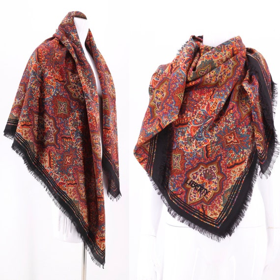 70s LIBERTY huge wool scarf shawl / vintage 1970s