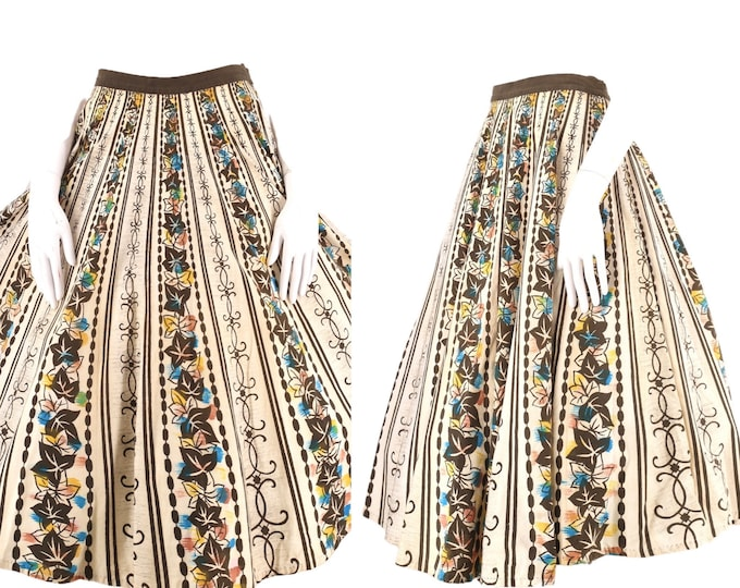 """50s LONDY of Mexico hand painted circle skirt L / vintage 1950s Mexican cotton full skirt 16 28"""""""