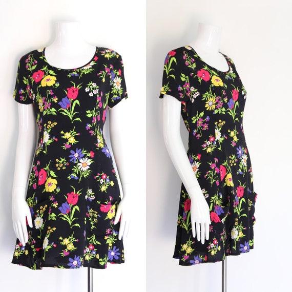 90s BETSEY JOHNSON rayon rose print mini dress sz