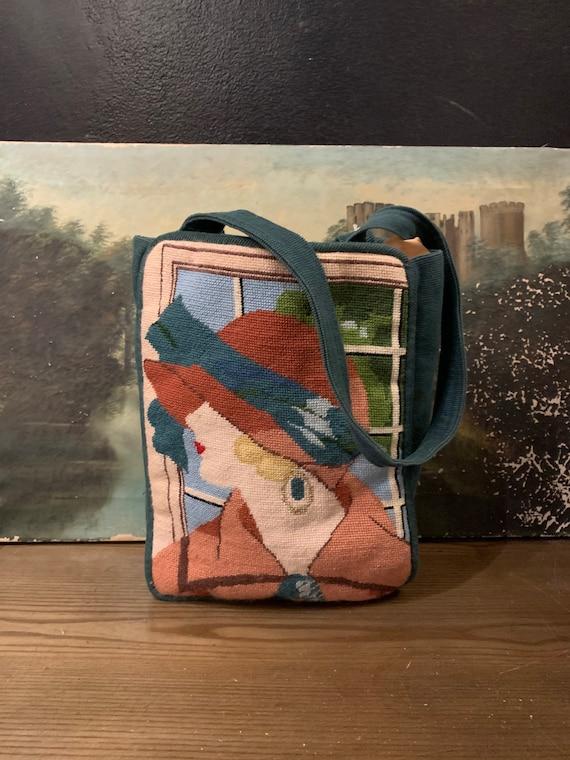 80s Art Deco needlepoint novelty print lady bag /