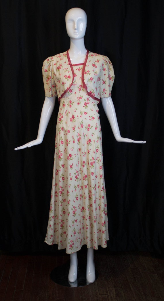 30s GOWN & JACKET novelty rose print rayon summer… - image 1