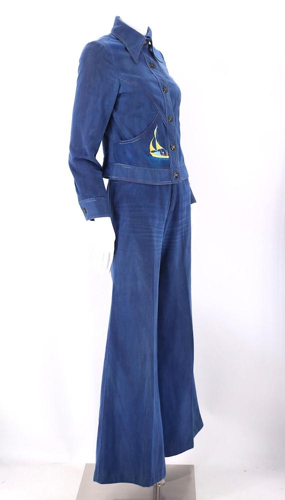 70s RONCELLI denim bell bottoms suit 8 / vintage … - image 6