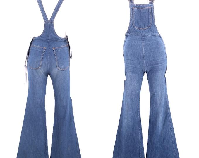 70s CHEMIN DE FER denim bell bottoms overalls s xs / vintage 1970s fitted zipper jumpsuit one piece sz 0-2