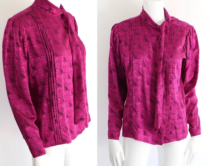 80s UNGARO fuchsia silk tie blouse sz 6 / vintage 1980s floral print Emanuel Ungaro top sz S